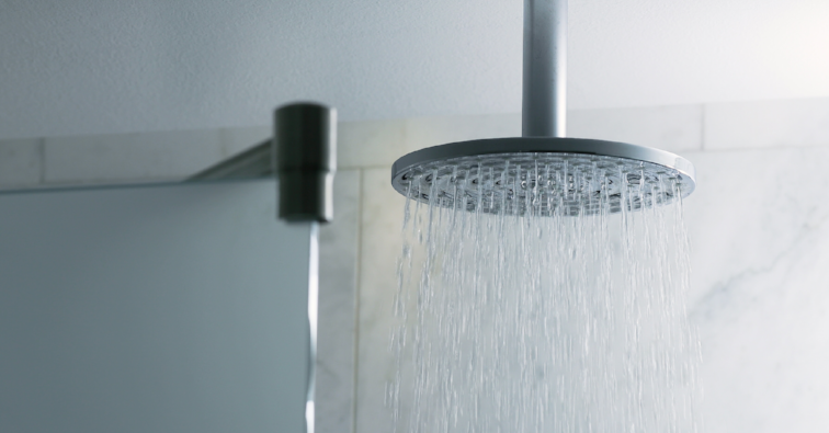 Shower water flowing